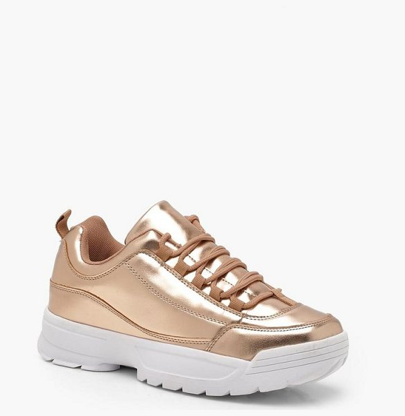 Boohoo Chunky Metallic Trainers in rose gold
