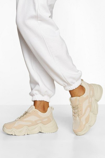 Boohoo Chunky Platform Lace Up Sneakers in stone