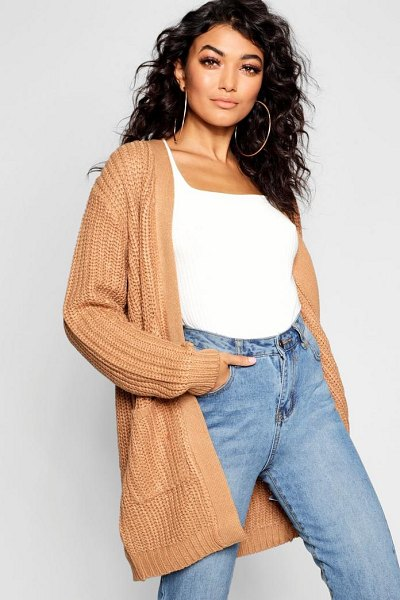 Boohoo Chunky Pocket Cardigan in camel - Nail new season knitwear in the jumpers and cardigans...