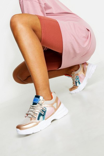 Boohoo Chunky Sole Lace Up Hiker Sneakers in gold