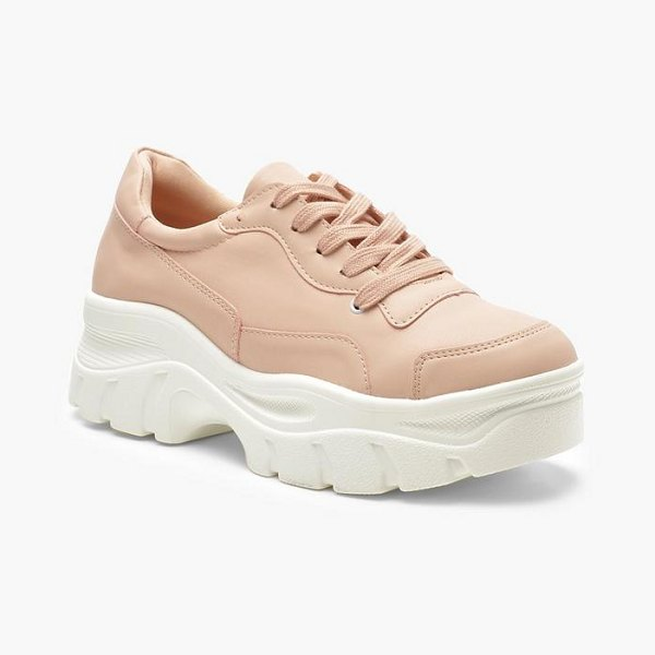 Boohoo Chunky Sole Lace Up Hiker Sneakers in blush