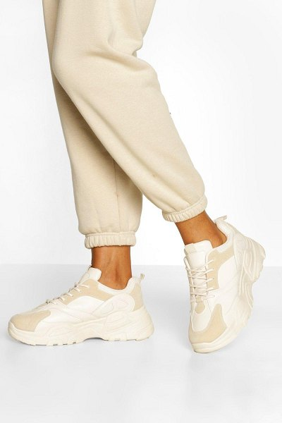 Boohoo Chunky Sole Lace Up Sneakers in beige