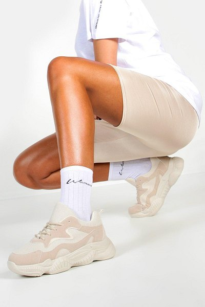 Boohoo Chunky Sole Lace Up Sneakers in stone