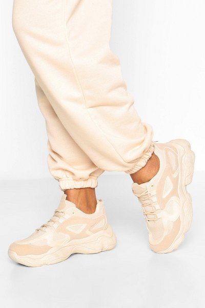 Boohoo Chunky Sole Panelled Sneakers in stone