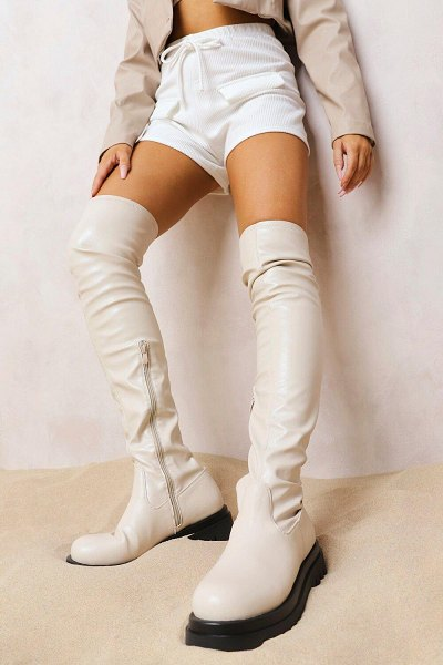 Boohoo Chunky Sole Stretch Over The Knee Boot in nude