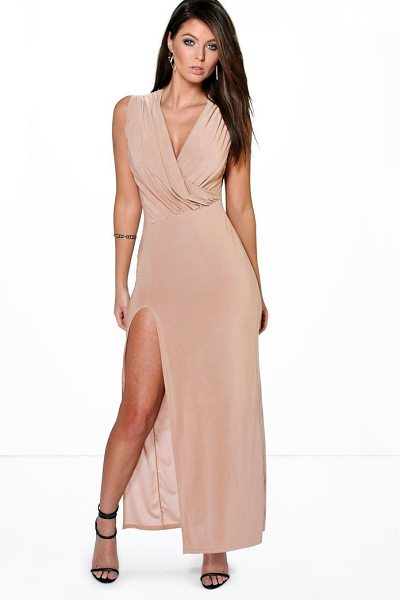 Boohoo Cindy Draped Plunge Thigh Slit Maxi Dress in sand - Dresses are the most-wanted wardrobe item for...