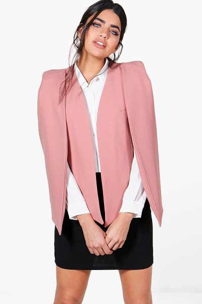 Boohoo Clara Woven Tailored Cape Blazer in rose - Clara Woven Tailored Cape Blazer rose