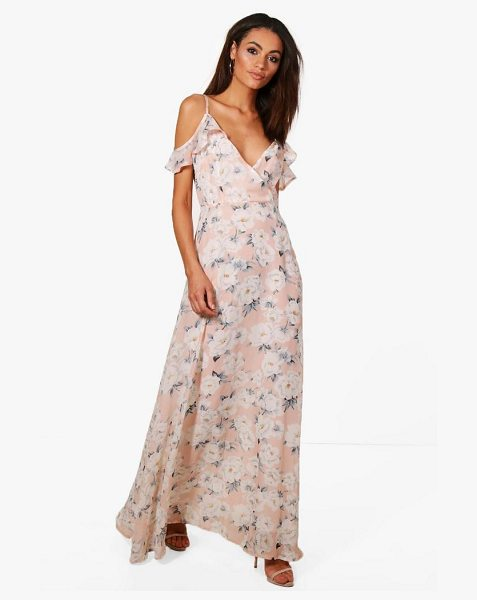 BOOHOO Clare Floral Print Cold Shoulder Maxi Dress in blush - Dresses are the most-wanted wardrobe item for...