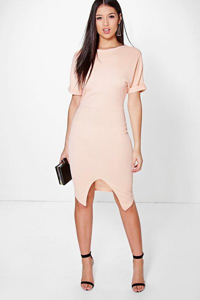 Boohoo Clarice Crepe Wrap Skirt Detail Fitted Dress in peach - Dresses are the most-wanted wardrobe item for...