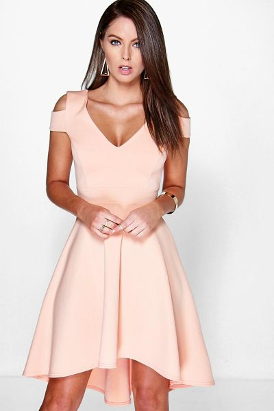 Boohoo Clea Bardot Plunge High Low Skater Dress in apricot - Dresses are the most-wanted wardrobe item for...