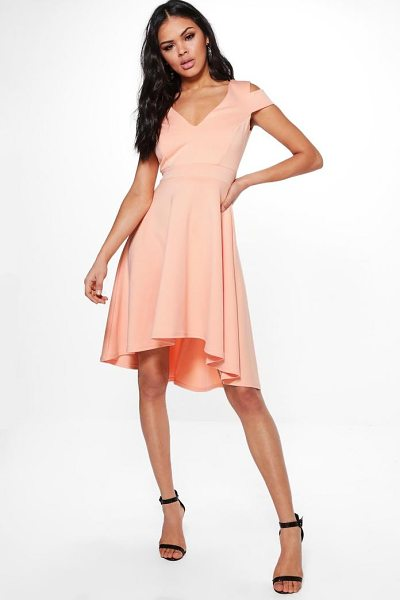 Boohoo Clea Bardot Plunge Skater Dress in apricot - Dresses are the most-wanted wardrobe item for...