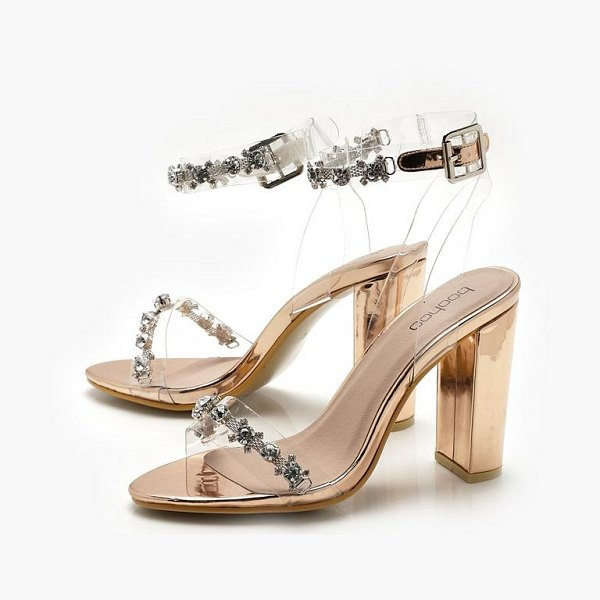 Boohoo Clear and Embellished Strap Block Heels in rose gold - We'll make sure your shoes keep you one stylish step...
