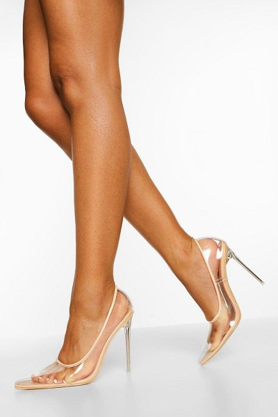 Boohoo Clear Pointed Court Shoes in nude