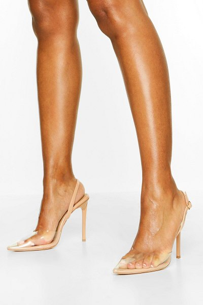 Boohoo Clear Pointed Heel Courts in nude
