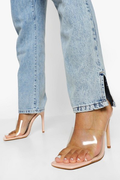 Boohoo Clear Square Toe Mule in nude