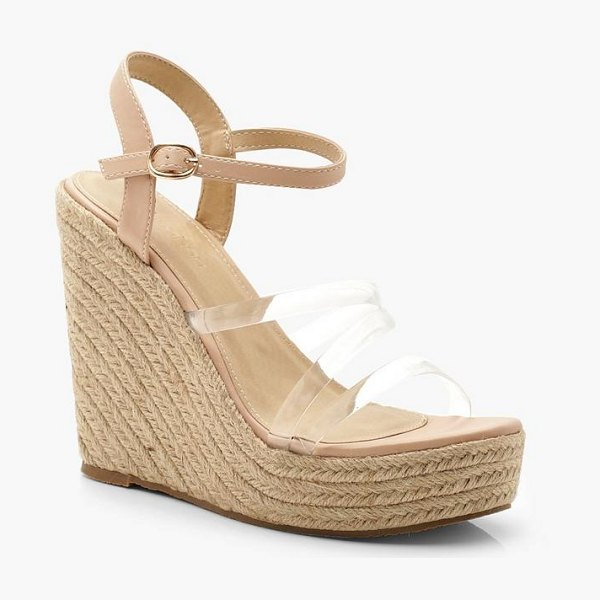 Boohoo Clear Strap Espadrille Wedges in nude