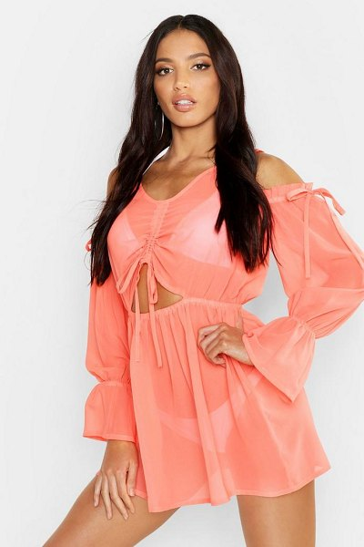 Boohoo Cold Shoulder Beach Dress in coral