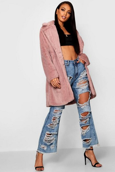 Boohoo Collared Faux Fur Coat in blush - Wrap up in the latest coats and jackets and get...