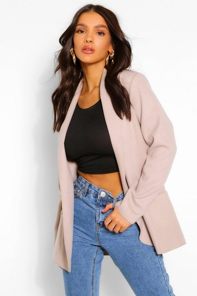 Boohoo Collared Lightweight Wool Look Coat in stone