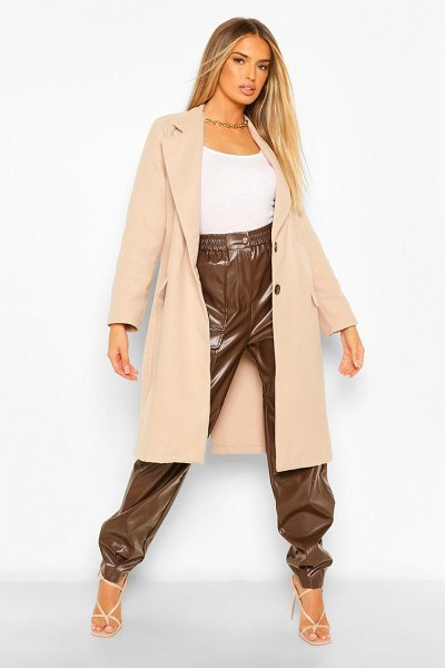 Boohoo Collared Pocket Detail Wool Look Coat in stone