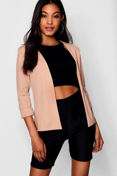 Boohoo Collarless Longline Blazer in stone - Wrap up in the latest coats and jackets and get...