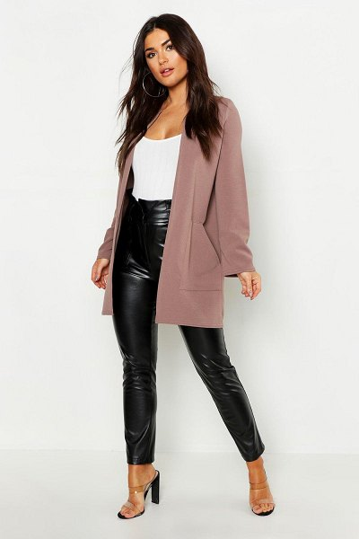 Boohoo Collarless Pocket Detail Duster Jacket in taupe