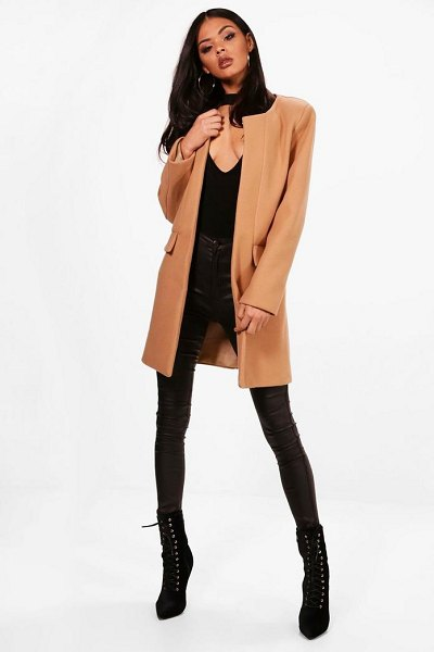 Boohoo Collarless Wool Look Coat in camel - Wrap up in the latest coats and jackets and get...