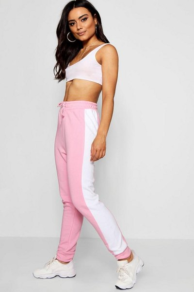 Boohoo Colour Block Stripe Jogger in pink - Trousers are a more sophisticated alternative to...