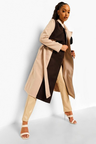 Boohoo Colour Block Wool Look Trench Coat in chocolate