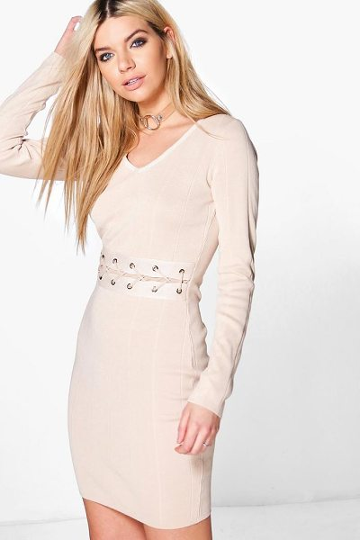 Boohoo Constantina Lace Up Middle Ribbed Knit Dress in beige - Dresses are the most-wanted wardrobe item for...