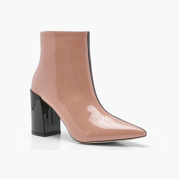 BOOHOO Contrast Block Heel Ankle Boots in nude - We'll make sure your shoes keep you one stylish step...