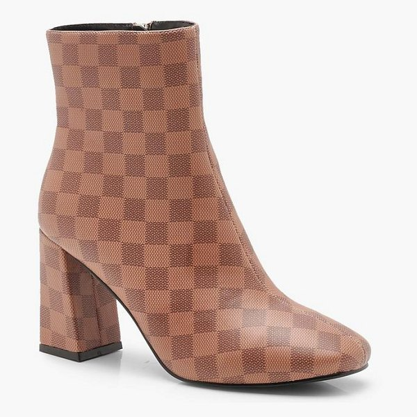 Boohoo Contrast Check Zip Back Flare Heel Shoe Boots in tan - We'll make sure your shoes keep you one stylish step...