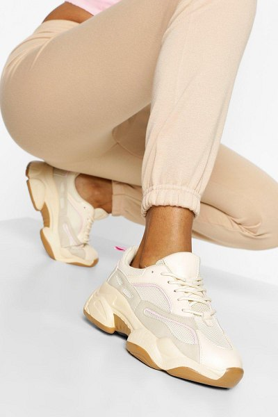 Boohoo Contrast Piping Chunky Sneakers in stone