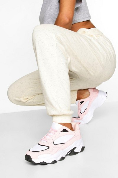 Boohoo Contrast Sole Chunky Sports Sneakers in pink