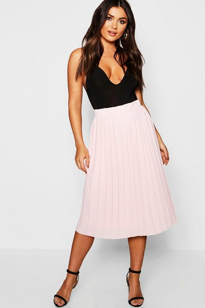 Boohoo Crepe Pleated Midi Skirt in nude