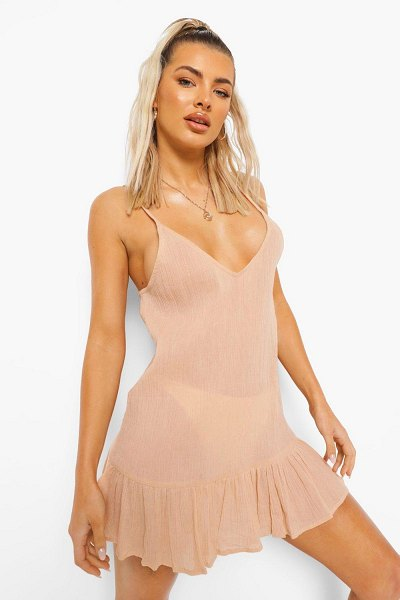 Boohoo Crinkle Strappy Beach Dress in nude