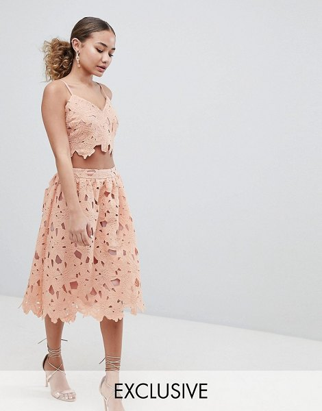 Boohoo exclusive crochet lace midi skirt in pink - Skirt by boohoo, For a look as lit as your plans, Fully...