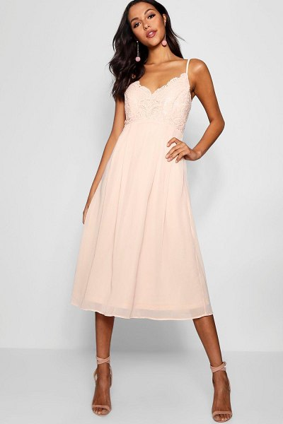 Boohoo Crochet Lace Strappy Chiffon Midi Bridesmaid Dress in blush