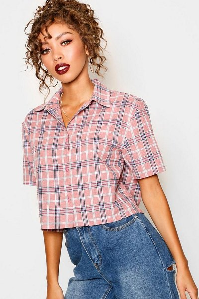 Boohoo Cropped Check Shirt in pink - Steal the style top spot in a statement separate from...