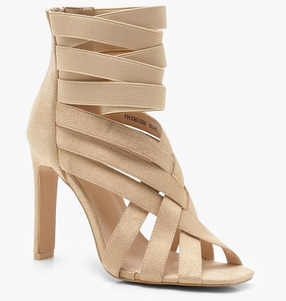 Boohoo Cross Strap Cage Sandals in nude