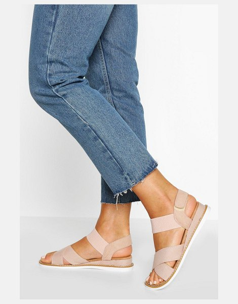 Boohoo Cross Strap Elastic Sandals in nude