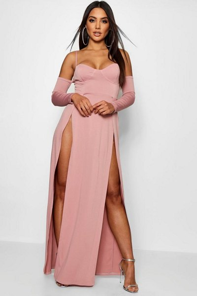 Boohoo Cupped Bodice Thigh Split Maxi Dress in blush