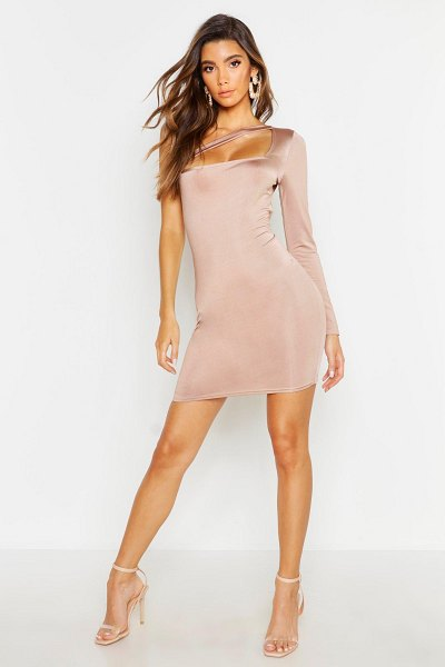 Boohoo Cut Out Bodycon Dress in stone