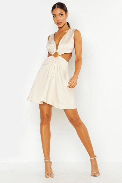 Boohoo Cut Out Luxe Mini Dress in stone