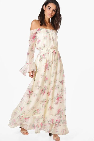 Boohoo Dahlia Floral Ruffle Hem Maxi Dress in cream