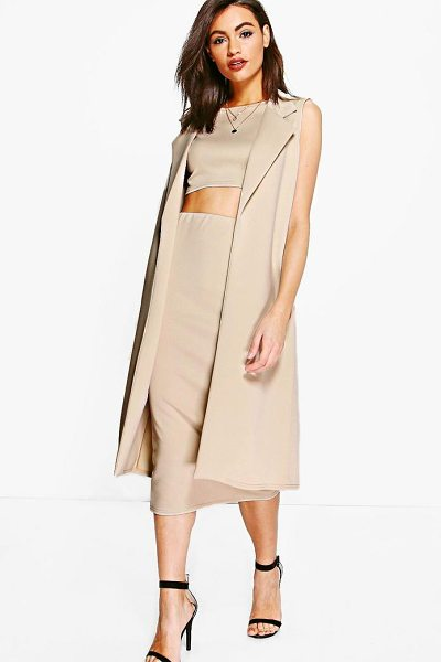 Boohoo Daisy 3 Piece Crop Skirt & Duster Co-ord in sand - Co-ordinates are the quick way to quirky this seasonMake...