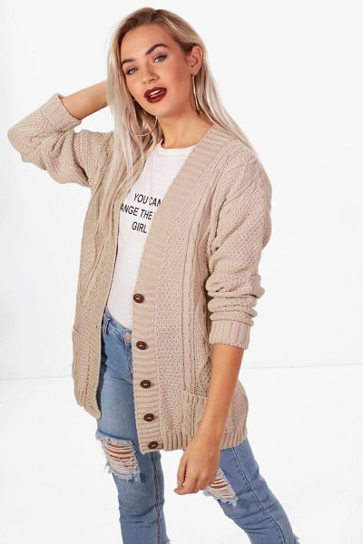 Boohoo Daisy Cable Boyfriend Cardigan in stone - For ultimate cosy vibes, you can't go wrong with a...