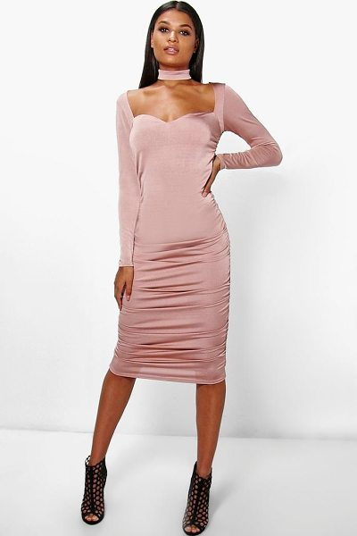 Boohoo Daisy Choker Ruched Midi Dress in rose - Get dance floor-ready in an entrance-making evening...