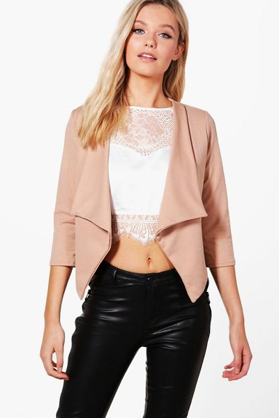 Boohoo Daisy Shawl Collar Crop Blazer in camel - Wrap up in the latest coats and jackets and get...