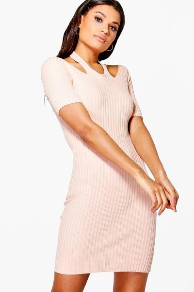Boohoo Daisy Cut Out Shoulder Rib Knit Jumper Dress in pink - Nail new season knitwear in the jumpers and cardigans...